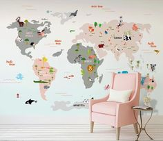 World Map Colorful Poster Cartoon Animal World Map Children's Room Sofa TV Background Wall , Wall Art Wall Poster Kids Room Weltkarte färbte Plakat-Karikatur-Tierweltkarte-Kinderzimmer Sofa TV Background Background, Wand World Map Wallpaper, Kids Room Wallpaper, Painting Wallpaper, Of Wallpaper, Cleaning Walls, Smooth Walls, Traditional Wallpaper, Custom Wallpaper, Baby Room Decor