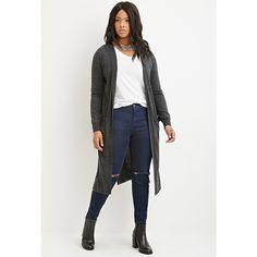 Soft Knit Side Slits Open Front Longline Cardigan | Plus Size Tops ...