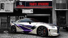 Nissan GTR35 Chrome Wrap + Body Stickers   #tomsstickers #carwrap #chromewrap #vinylwrap #chrome #silverchrome #bodystickers #carstickers #nissan #gtr #r35 #stickershop #kualalumpur