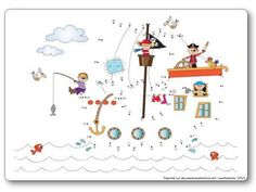 Pirate Connect the Dots Preschool Pirate Theme, Pirate Activities, Activities For Kids, Free Board Games, Diy Pour Enfants, Art For Kids, Crafts For Kids, Bateau Pirate, I Love School