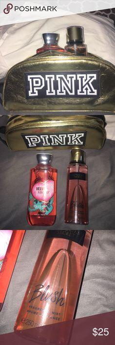 Vs pink make up bag, Vs perfume, Velvet sugar Velvet sugar from bath and body works! All together perfume, make up bag, and shower gel package! considering any offers! PINK Victoria's Secret Makeup Brushes & Tools