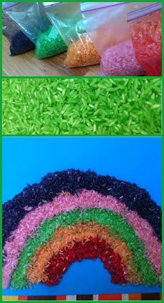 Springtime sensory activity using colorful rice and glue to create decorative rainbows, and more!