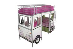 cool bunk bed for girls room, available in blue for boys.