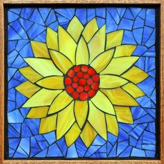 Student Work from a Kasia Mosaics Stained Glass Mosaic Flower Workshop - Water Lily by Kris. Sign up for a class near you on the 2015 Kasia Mosaics US Tour via www.kasiamosaics.com