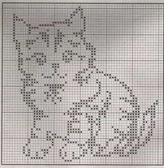 Cute kitty pattern for filet crochet or maybe double knitting. Cute kitty pattern for filet crochet or maybe double knitting. Cross Stitch Charts, Cross Stitch Designs, Cross Stitch Patterns, Knitting Charts, Knitting Patterns, Cross Stitching, Cross Stitch Embroidery, Crochet Minecraft, Crochet Patterns Filet