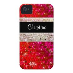 Ruby Red Rhinestone Glitter Bling Diamond Sequins Case-Mate iPhone 4 Case/zazzle