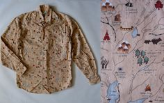 Vintage Indian country map print shirt Johnny by afterglowvintage, $36.00