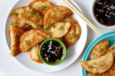 Easy Chicken Potstickers with Soy Dipping Sauce | recipe via justataste.com