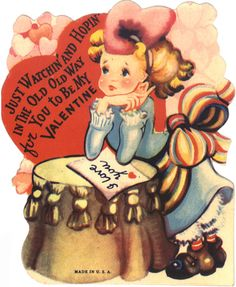 Just watchin' and hopin in the old way for you to be my Valentine......love vintage valentines!