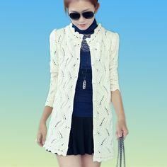 2015 Winter Sweater  Women Long Sleeve Hollow Knitted Wool Long Cardigan Plus Size Coat Free Shipping