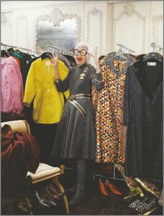 Iris Apfel - A spare room that functions as a closet.  Holy molly this is one hip lady.