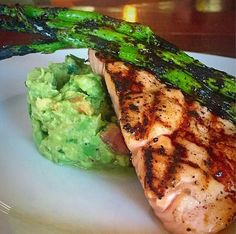 Grilled Salmon on a Bed of Pulped Avocado, Aged Balsamic and Grilled Asparagus #eeeeeats  #salmon  #perkysbistro