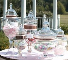 Candy Table at the Reception.ANY Ideas : wedding Candy Buffet Containers Candy Buffet Jars, Buffet Dessert, Lolly Buffet, Candy Table, Candy Jars, Dessert Bars, Candy Dishes, Lolly Jars, Dessert Tables