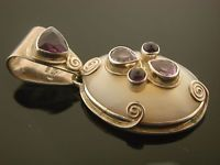 ESTATE STERLING 925 SAJEN AMETHYST ON MOONSTONE DOME PENDANT- FREE SHIPPING