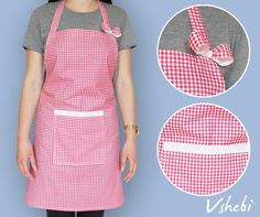 Classic Red and white checkered cotton apron. This apron has a very handy pocket on the front. It's decorated with cute bow and lace ribbon. All aprons are one size but I'm open to customize it. Length: 71 cm Width: 74 cm Tie: 90 cm 100% Cotton