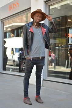 Street style london men | Men's Look | ASOS Fashion Finder red sock and red leather NICE IDEA. All in the detail