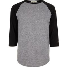 River Island Grey raglan top (21 AUD) ❤ liked on Polyvore featuring men's fashion, men's clothing, men's shirts, men's casual shirts, shirts, men, tops, mens shirts, grey and j crew mens shirts