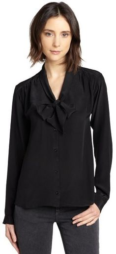 Wyatt black silk tie neck blouse | what to wear with a long white vest