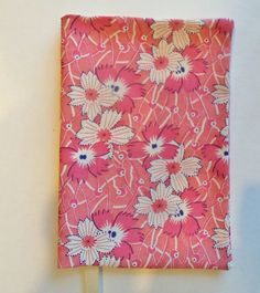 Fabric Book Cover Pink Flowers Floral Book Cover by momssewingroom