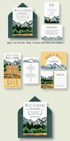 Mountain Wedding Invitation Suite Template PSD, AI #design Download: https://creativemarket.com/knotteddesign/386333?u=ksioks