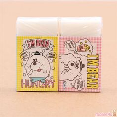 white cute hungry bear scented eraser by Kamio from Japan Japanese Stationery, Cute Designs, 1 Piece, Super Cute, Bear, Pattern, How To Make, Patterns, Bears