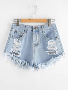 SheIn offers Destroyed Fray Hem Denim Shorts & more to fit your fashionable needs. Distressed Denim Shorts, Ripped Denim, Short Jeans Feminina, Denim Decor, Shorts Jeans, Trendy Swimwear, Type Of Pants, Outfit Trends, Pants For Women