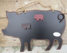 PIG KITCHEN CHALKBOARD with 2 Piggy MAGNETS Primitive Rustic Country Art Decor