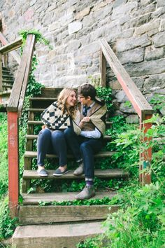 Matt & Katie's adorable Georgetown engagement & quirky love story in Washington, DC. Images by Birds of a Feather Photos.