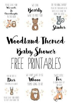 Woodland Themed Baby Shower - Free Printables