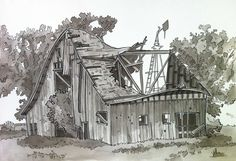 Urban Sketchers Seattle: Old Barn Barn Drawing, Painting & Drawing, Landscape Pencil Drawings, Landscape Art, Color Pencil Sketch, Realistic Drawings, Pen Drawings, Drawing Projects, Country Art