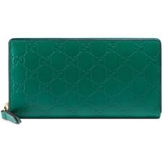 Gucci Gucci Signature Zip Around Wallet ($610) ❤ liked on Polyvore featuring bags, wallets, accessories, emerald, women, blue leather bag, real leather wallets, snap wallet, pattern wallet and genuine leather wallet
