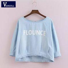 Summer Letter Print Denim Blouse Shirt Half Sleeve O Neck Jeans Peplum Shirts Short Tencel Denim Tops Casual Clothing