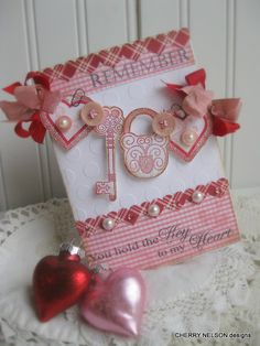 vintage VALENTINE DAY card hearts key