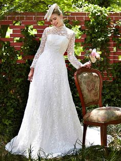 A-Line Illusion Neckline Court Train Lace Wedding Dress with Lace by LAN TING BRIDE® - USD $249.99 ! HOT Product! A hot product at an incredible low price is now on sale! Come check it out along with other items like this. Get great discounts, earn Rewards and much more each time you shop with us!
