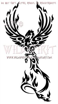 Rising Phoenix Tattoo Designs | Majestic Tribal Phoenix Design by ~WildSpiritWolf on deviantART