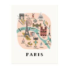 J'adore!! - Rifle Paper Co. Art Print Paris Map