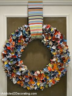 If you have a stack of old magazines hanging around, you have to check out this colorful wreath from Addicted 2 Decorating. Recycled Magazines, Old Magazines, Recycled Crafts, Recycled Jewelry, Diy Projects To Try, Crafts To Do, Craft Projects, Book Projects, Kids Crafts