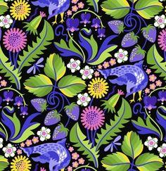Plum Strawberry Serenade, Early Birds, Jane Sassaman by Westminster Fabrics
