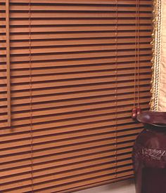 Inside Mounted Wood Blinds In Shallow Window Living Room