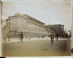 The Croton Distributing Reservoir fitted out for use as a Reviewing Stand in September, 1899. The view is north on Fifth Avenue from 40th Street. The occasion was the great land parade honoring Admiral George Dewey on Saturday, September 30, 1899. Notice the additional covered gallery seating atop the parapet of the Reservoir. At the NW corner of 42nd Street is the Bristol Hotel - and further in the distance is the spire of the Universalist Church of the Divine Paternity at the SW corner of…