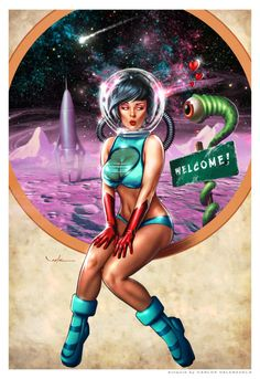 This cheeky science fiction pin up by Carlos Valenzuela is a possible future ad for Maiden Skyways.  In essence, she's a sexy stewardess for a space ship company.  http://valzonline.deviantart.com/art/Maiden-Skyways-215641899