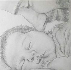how to draw kawaii 3d Art Drawing, Girl Drawing Sketches, Dark Art Drawings, Baby Drawing, Pencil Art Drawings, Realistic Drawings, Cute Drawings, Art Sketchbook, Baby Girl Portraits