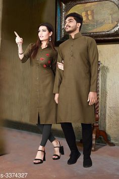Kurta Sets Trendy Designer Slub Cotton Couple Kurta Set Fabric: Men's Kurti - Slub Cotton , Women's - Slub Cotton Sleeves: Sleeves Are Included Size: Women's Kurti - M - 38 in , L - 40 in, XL - 42 in, Men's - M - 38 in , L - 40 in, XL - 42 in Refer Size chart Type: Stitched Length: Women's Kurti - Up To 45 in, Men's Kurti - Refer Size Chart Description: It Has 1 Piece Of Women's Kurti With 1 Piece Of Men's Kurti  Pattern: Solid Sizes Available: M, L, XL, XXL *Proof of Safe Delivery! Click to know on Safety Standards of Delivery Partners- https://ltl.sh/y_nZrAV3  Catalog Rating: ★4.1 (3807)  Catalog Name: Elite Trendy Designer Slub Cotton Couple Kurtis Vol 1 CatalogID_467805 C66-SC1201 Code: 528-3374327-