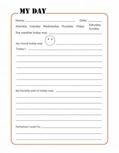 Kids printable journal pages. Use for the last 15. Minutes of the day?