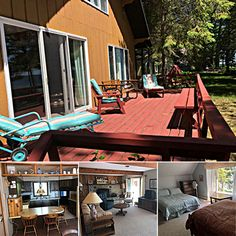 Smith Family Resort Cabins by Northern Lakes Property Management One in Topinabee, MI, can sleep up to 26 guests in all, with four picturesque cabins on Mullett Lake. Book direct for an affordable reunion getaway this fall!  #travelmi #bookdirect #mullettlake #itscabintime