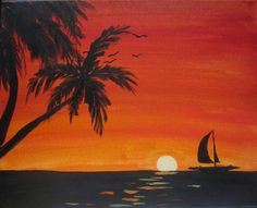 """Sunset Merlot"" Let your inner artist shine at Picasso and Wine in Windsor. Sign up with your friends for a fun night, sip on some wine, and leave with a beautiful painting like this one! www.picassoandwine.com  Painting Classes 