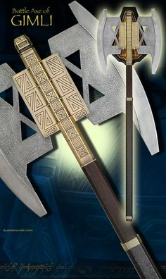 Lord of the Rings Gimli Axe Totoro, Tolkien, Lord Of Rings, Lotr Characters, Lotr Elves, Fantasy Dwarf, Concept Weapons, Tauriel, Fantasy Weapons