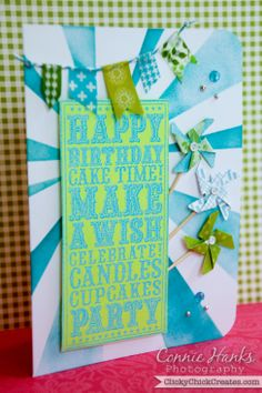 Connie Hanks Photography  //  ClickyChickCreates.com  //  Happy birthday card featuring washi banner and pinwheels