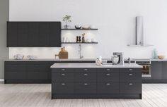 Tämä keittiö on särmikäs ja tyyliltään pelkistetty. Jännittävät materiaaliyhdistelmät luovat kontrasteja tilavaan ja persoonalliseen keittiöön. Kvartsiset työtasot ovat kestäviä ja ne on helppo pitää puhtaana.