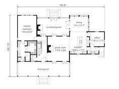 """Vintage Country home plans- I've found my house. Go to site and click on """"previous"""" to see pics of a home with these plans. The kitchen is STUNNING. 2735 sq ft, 3-4 bed, 3 1/2 bath, screened in porch/ sunroom w/ fireplace - Southern Living House Plan"""